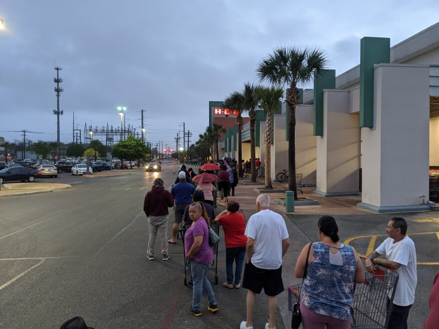 Line in front of H-E-B in deco district about 7:40 am. People at front said they had arrived at 6:30 am.