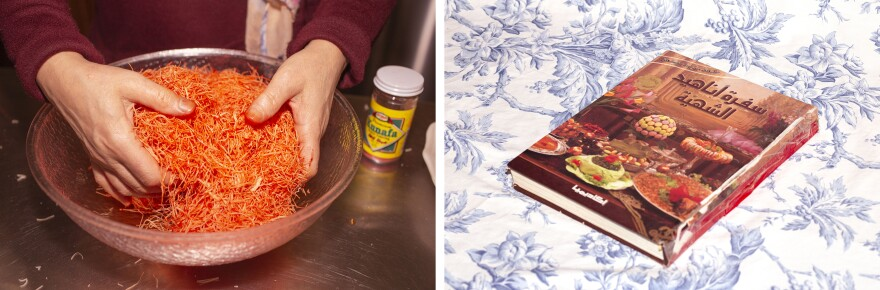 Left: The photographer's mother mixing <em>knafeh</em> food coloring into shredded phyllo dough. This is what gives the <em>knafeh</em> a deep orange color. Right: The old cookbook Huda Attar brought with her from Syria when she moved to the United States. She learned most of her recipes from this book.