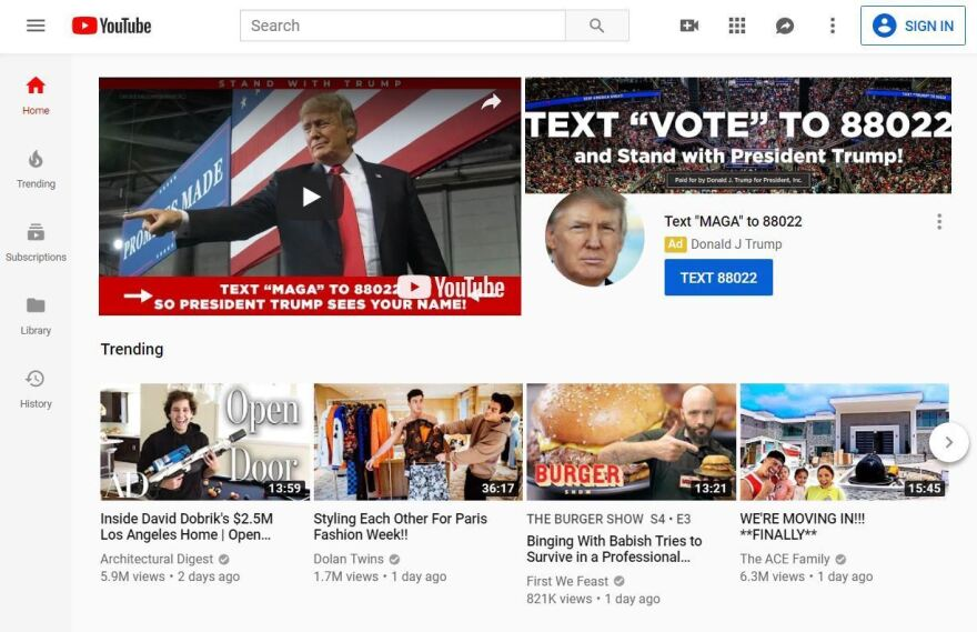 A screenshot of President Trump's campaign ad on YouTube Wednesday night.