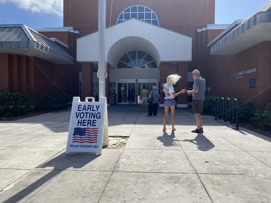 A wait of more than an hour was reported for early voting at the Hudson Area Library Branch on Oct. 19, 2020.