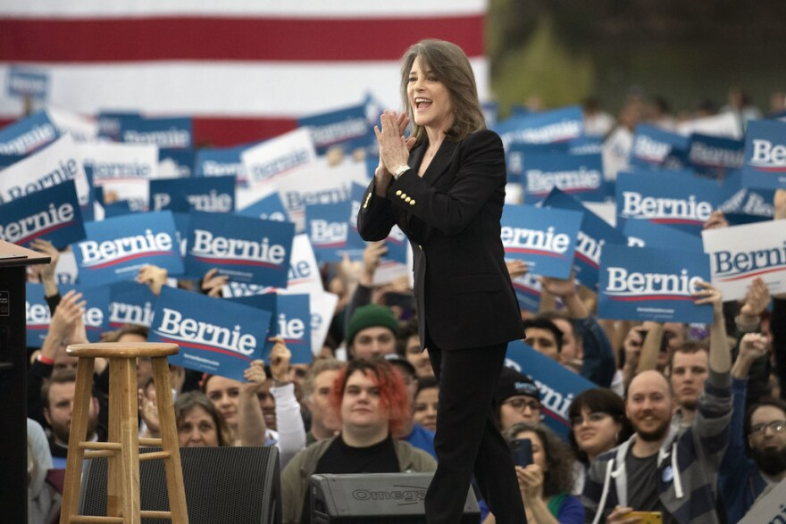 Texas native Marianne Williamson, a self-help author who dropped out of the race for the Democratic nomination in January, addresses the crowd.