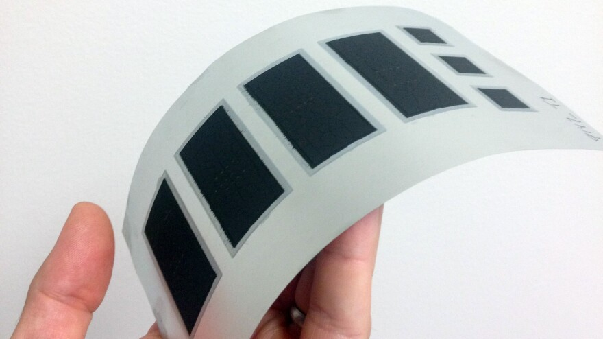 A prototype of a flexible battery from Imprint Energy, one of 40 companies working on battery technology in the San Francisco Bay Area.