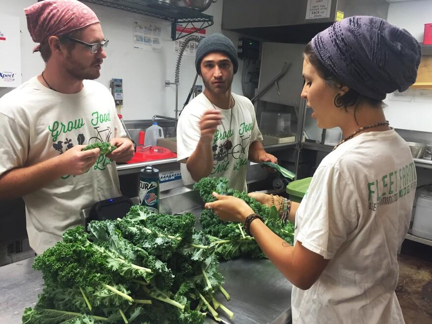 Fleet Farming volunteers Michele Bimbier, A.J. Azqeta and Blake Addington prepare freshly picked vegetables.