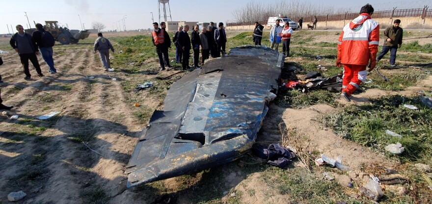 Debris from Ukraine International Airlines Flight 752, which was shot down after takeoff from Iran's Imam Khomeini airport, on the outskirts of Tehran.