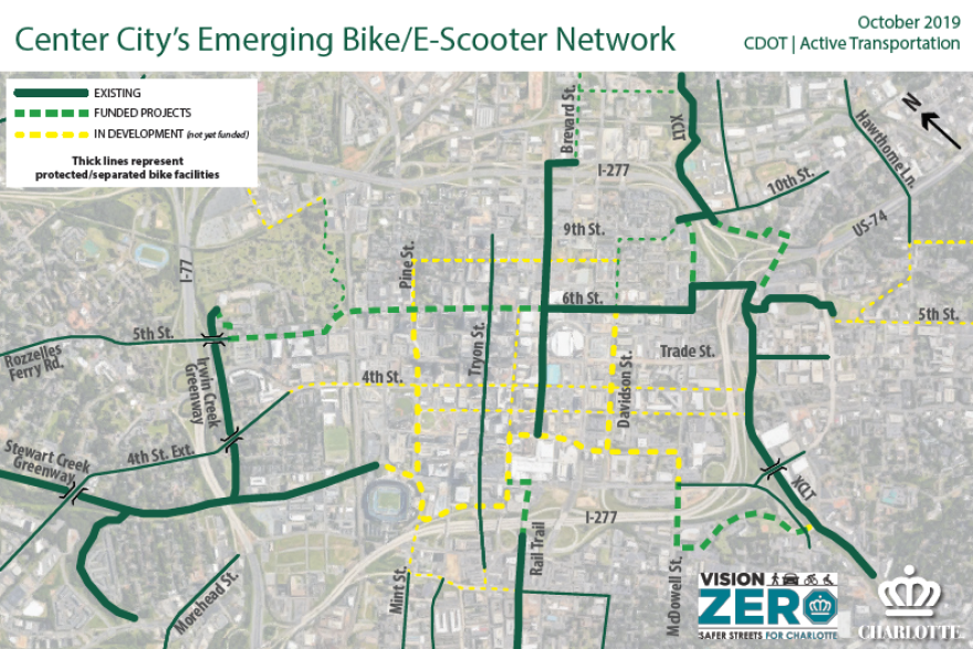 Charlotte's Ward Loop plan. (Key: existing bike lanes in solid green, funded and unbuilt lanes in dotted green, unfunded and unbuilt lanes in dotted yellow.)