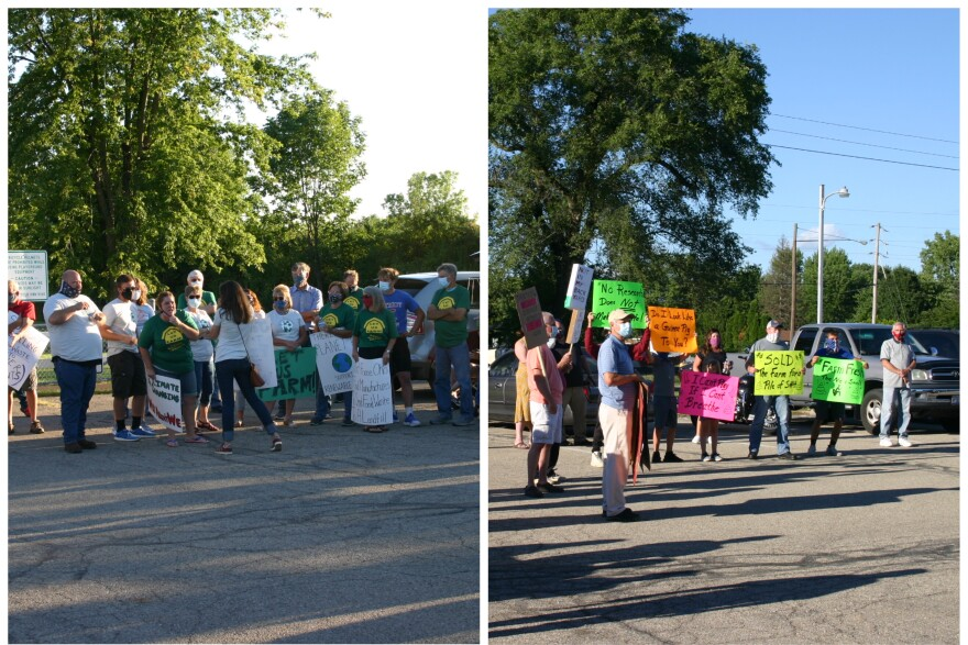 Counter-protestors on the left, including local farmers who use the biodigester's fertilizer and Renergy employees, exchange with protestors on the right, including nearby landowners and Democratic candidate for State House District 73 Kim McCarthy.