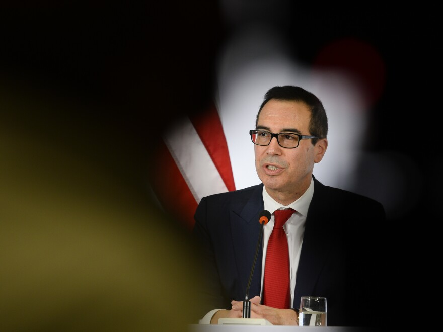 U.S. Secretary of the Treasury Steven Mnuchin speaks during a press conference at the G 20 Finance Ministers and Central Bank Governors Meeting in Baden-Baden, southern Germany, on March 18.