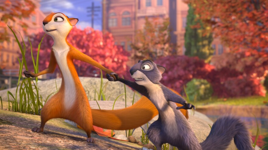 Squirrels Andie (Katherine Heigl) and Surly (Will Arnett) start out on opposite ends of the moral spectrum in <em>The Nut Job</em>.