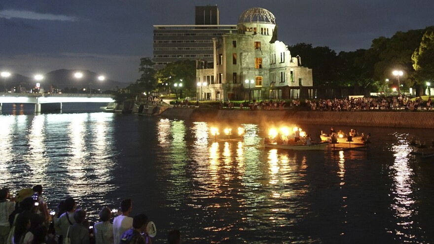 Sunday marked 72 years since the U.S. dropped one of two atomic bombs on Japan. On the eve of the anniversary, organizers of a peace event lit up torches on floats on the Motoyasu River next to the Atomic Bomb Dome in Hiroshima.