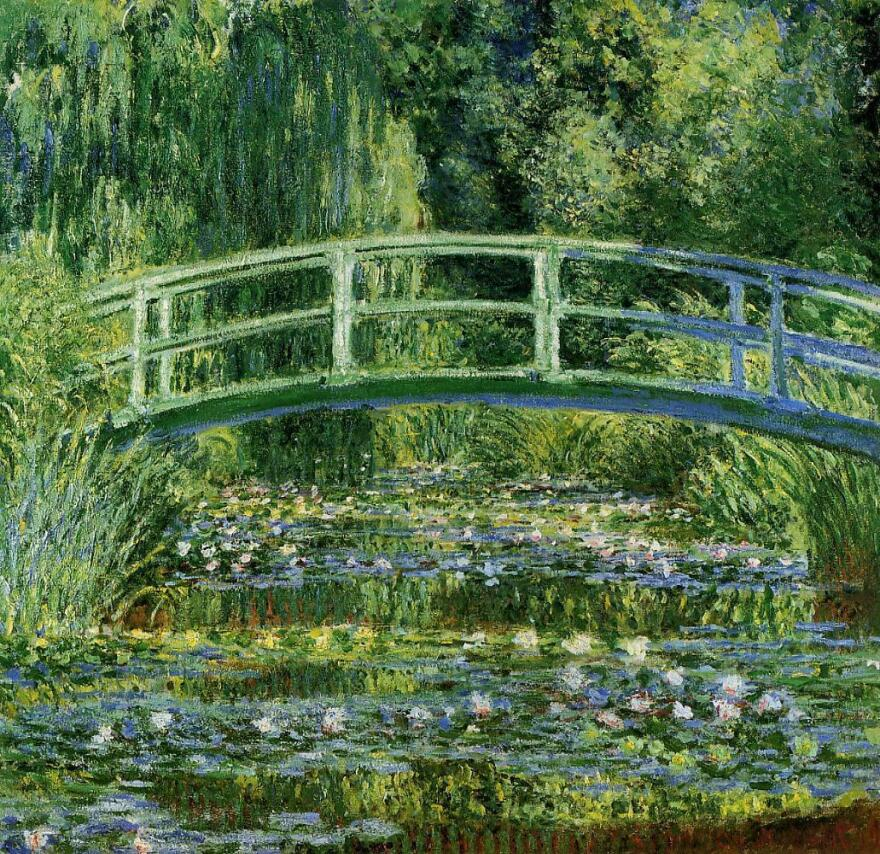 Monet's <em>Waterlilies and Japanese bridge, </em>1899. Monet turned a parcel of land next to his land in Giverny into a Japanese-style water garden.
