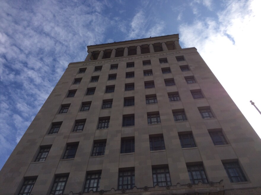 The city's Civil Courts Building, where a challenge of St. Louis' minimum wage law was heard.