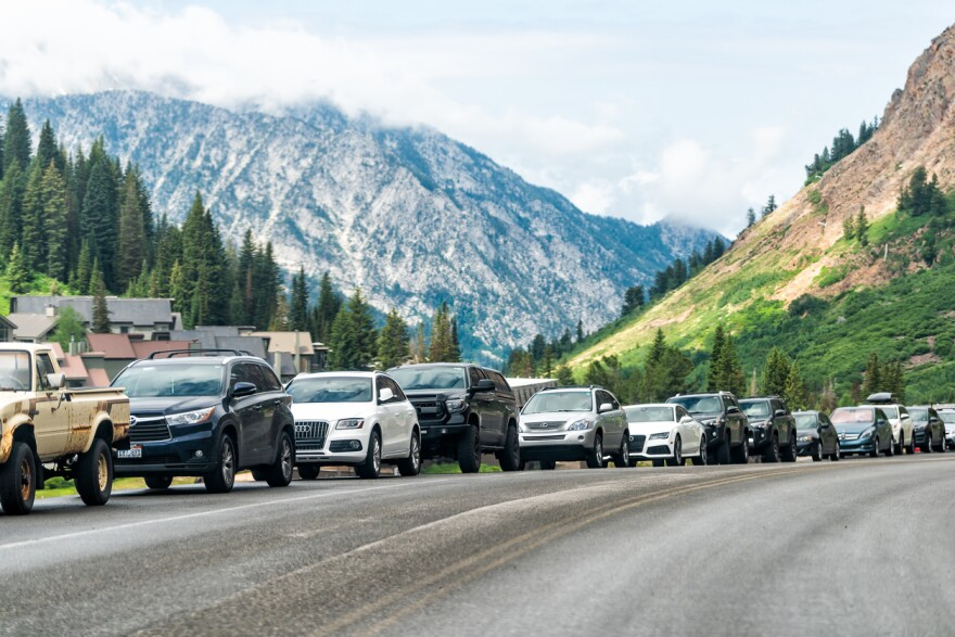 A photo of cars parked on the side of the road at Albion Basin.