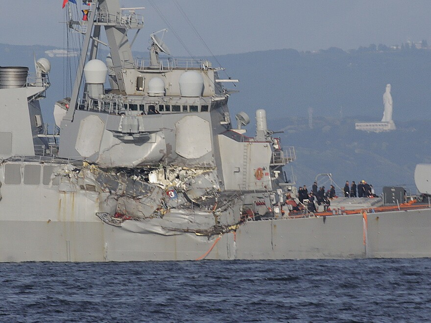 The USS Fitzgerald collided with a Philippine-flagged container ship off the coast of Japan on June 17, 2017. The $1.8 billion destroyer, manned by a 300-member crew, had been steaming on a secret mission to the South China Sea when it was struck by a cargo ship more than three times its size. Seven sailors died.
