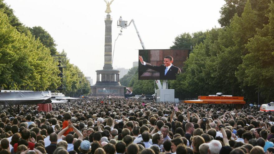President Barack Obama, then a candidate, spoke in front of an estimated 200,000 people in Berlin in July 2008.