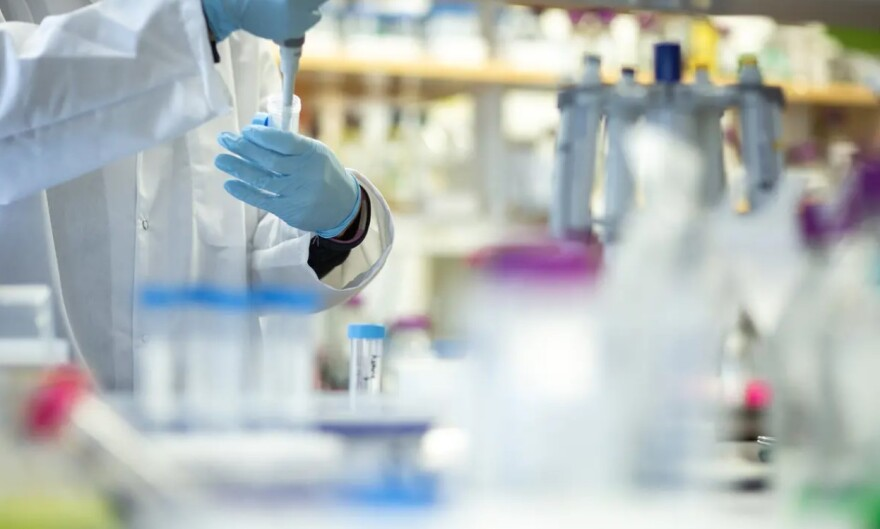 A graduate research assistant works in a lab.