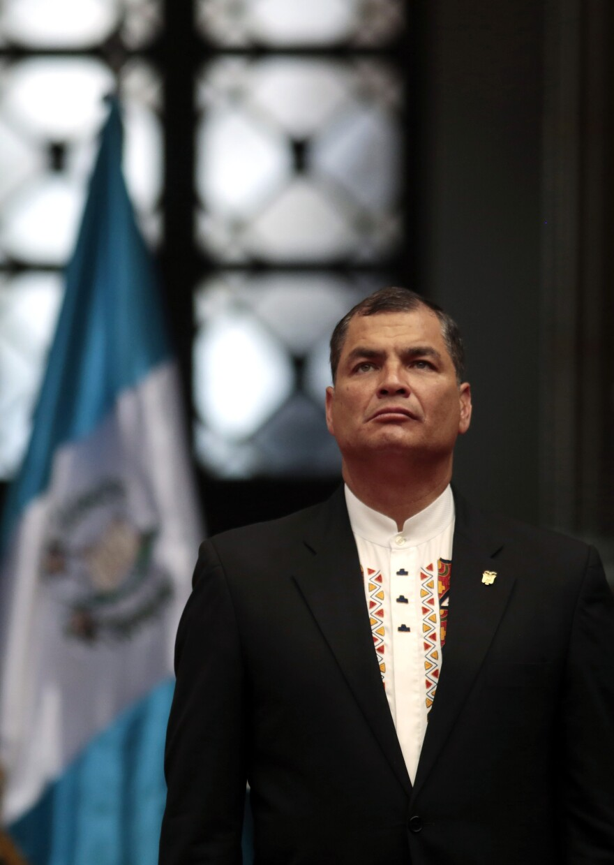 Ecuador's President Rafael Correa attends a welcoming ceremony at the National Palace of Culture in Guatemala City, Guatemala on August 19, 2014.