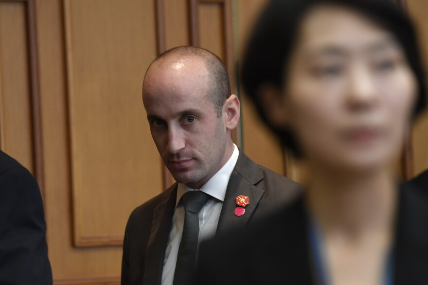 White House adviser Stephen Miller faces growing calls to resign after leaked emails show he promoted the ideas of white nationalists. Above, Miller waits for the start of a meeting with President Trump and South Korean President Moon Jae-in at the Blue House in Seoul in June.