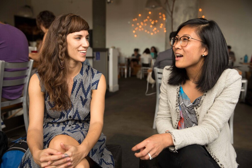 Amanda Angelotti (left) and Connie Chen, both graduates of University of California, San Francisco's medical school, opted for careers in digital health.