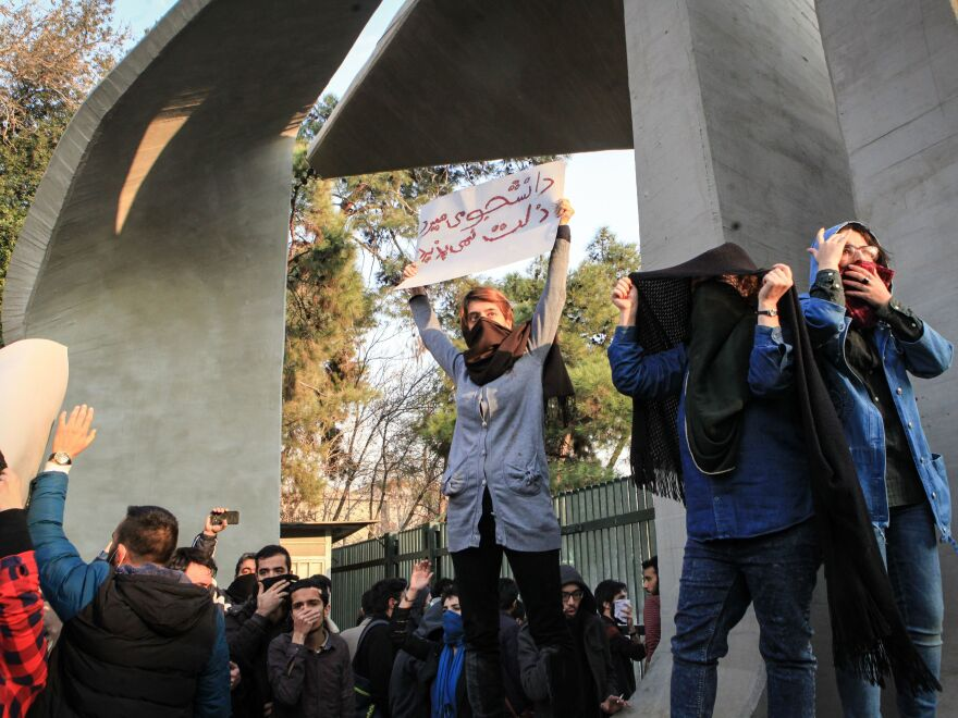Iranian students protest at the University of Tehran during a demonstration driven by anger over economic problems on Dec. 30.