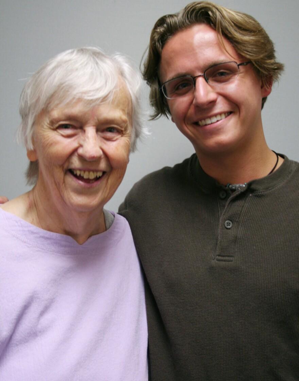 Barbara Handelsman, 80, and her grandson Aaron Handelsman, 20 — birds of a feather.
