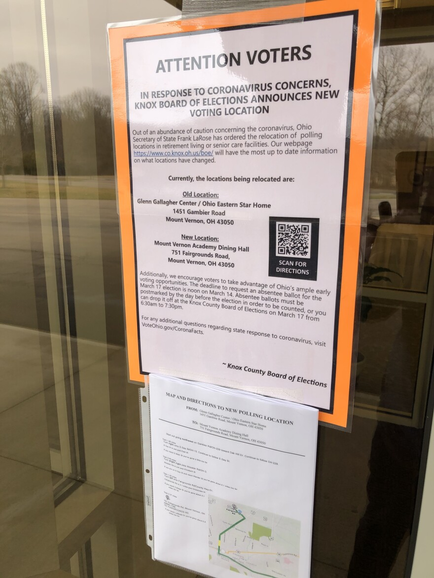 A sign in Franklin County, Ohio, warning voters that a polling place has moved because of the coronavirus outbreak. So far 163 voting locations in Ohio have been moved out of senior living facilities.