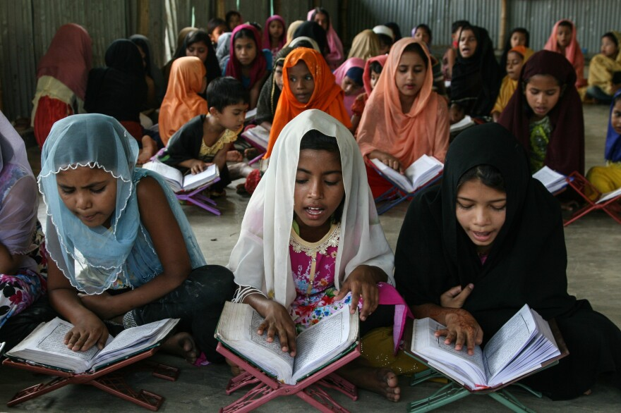 Rohingya girls study at a madrassa in the Balukali refugee camp in Bangladesh.