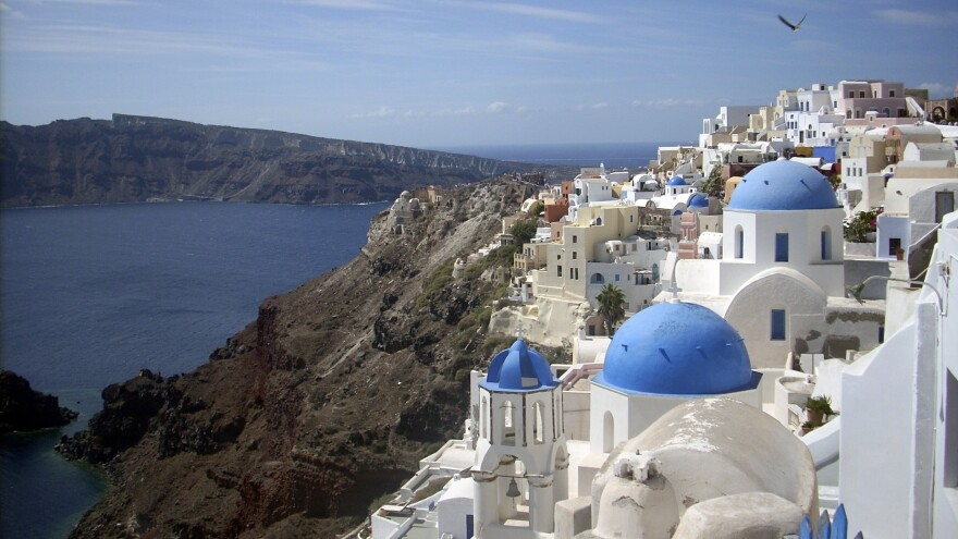 Many businesses in the town of Oia, on the northern tip of Santorini, are struggling to make ends meet following a drop in tourism.