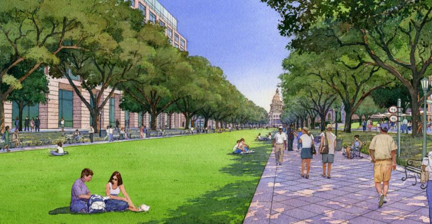 Artist's rendering of a pedestrian mall