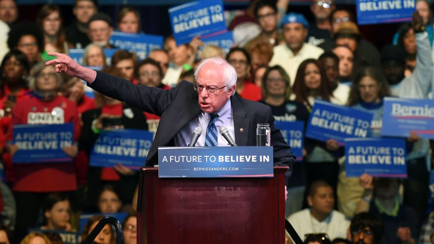 Bernie Sanders speaks during a rally in Atlantic City, N.J., on Monday.