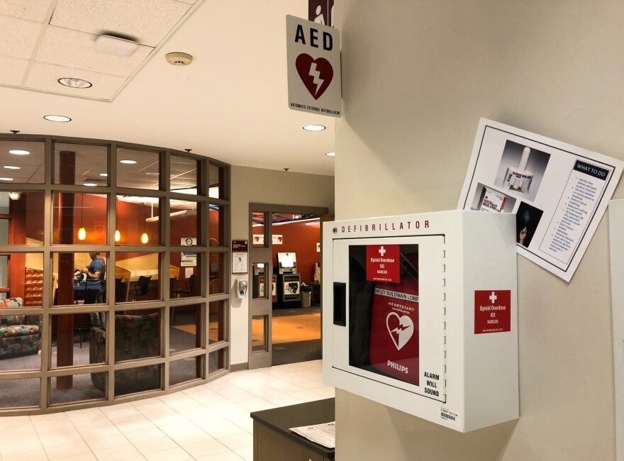 "Some sixty ""Opiod Overdose Kits"" have been added defibrillator boxes in Bridgewater State University dorms and academic buildings like this one."