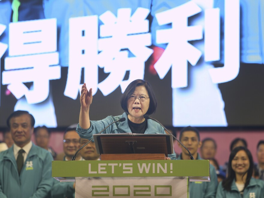 Taiwan's President Tsai Ing-wen delivers a speech in Taipei on Nov. 17 as she launches her reelection campaign. Taiwan will hold its presidential election on Jan. 11.