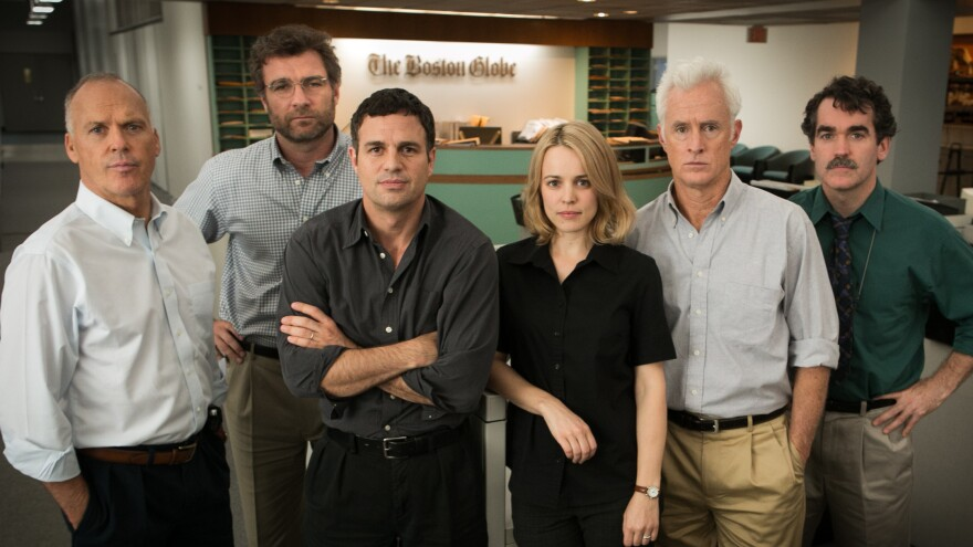 Michael Keaton, Liev Schreiber, Mark Ruffalo, Rachel McAdams, John Slattery and Brian D'Arcy James are members of the <em>Boston Globe</em> investigation team that uncovers a sex-abuse scandal involving the Catholic Church in the film, <em>Spotlight.</em>