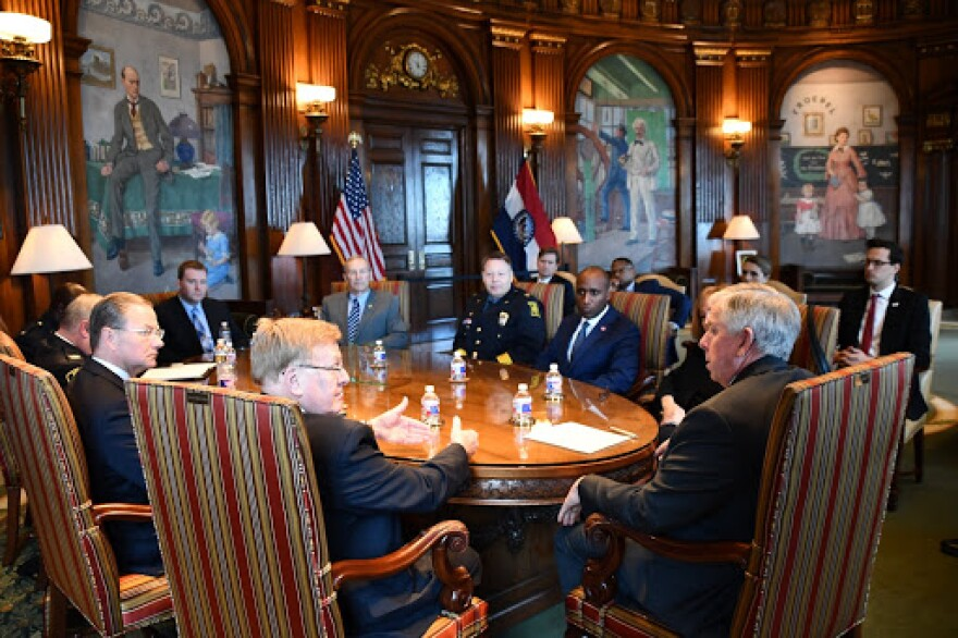 Parson and mayors of St. Louis, Kansas City, Springfield, and Columbia meet to talk about violent crime on Monday, Nov. 25, 2019.