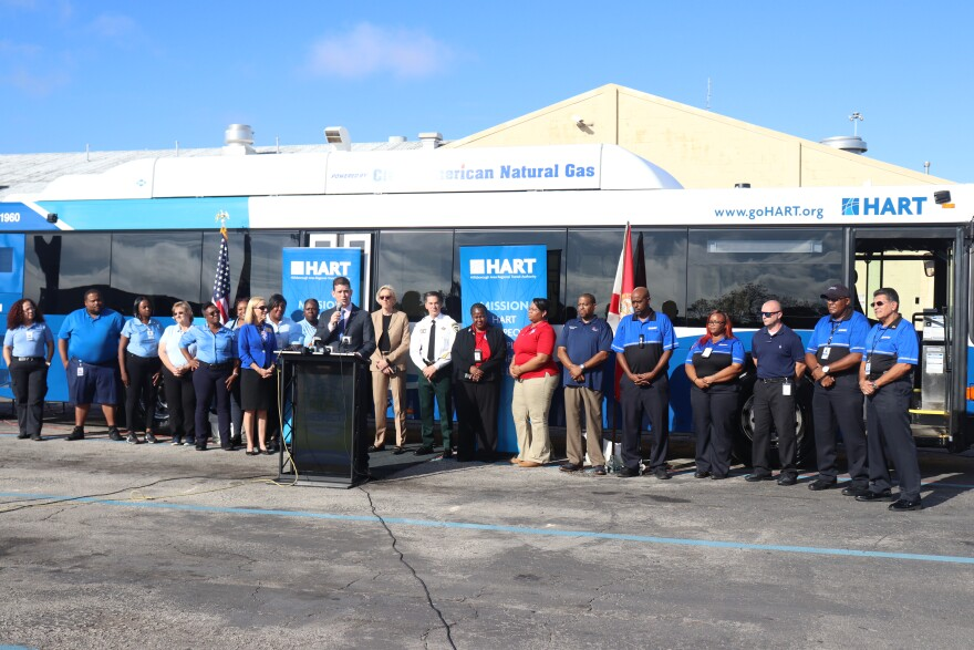 Local ATU representatives spoke at the presentation of the first safety shield installed in a HART bus