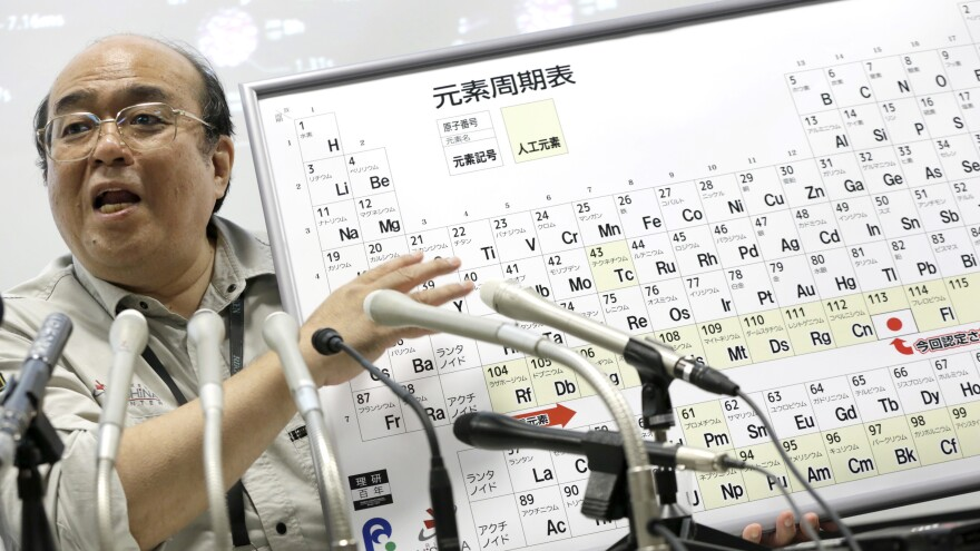 Kosuke Morita, who led a group of researchers that discovered element 113, speaks at a press conference at in Tokyo on June 9. The name nihonium stems from the fact that element 113 was discovered in Japan, and Nihon is one way to say the country's name in Japanese.