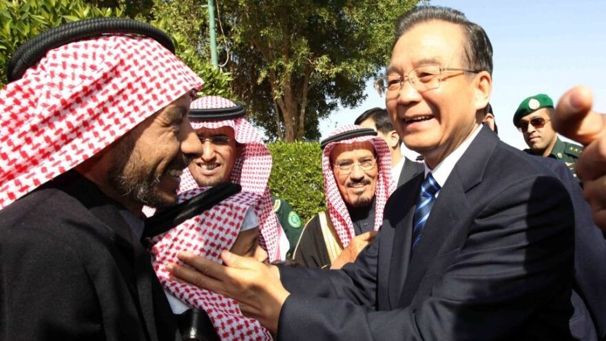 China appears to be rethinking its reliance on oil from Iran. Here, Chinese Premier Wen Jiabao (right) visits with the members of the Saudi Arabia-China Friendship Association on the outskirt of Riyadh, Saudi Arabia, earlier this month.