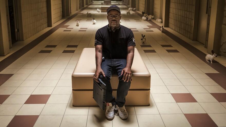 Writer, producer and director Jordan Peele poses on the set of <em>Us.</em>
