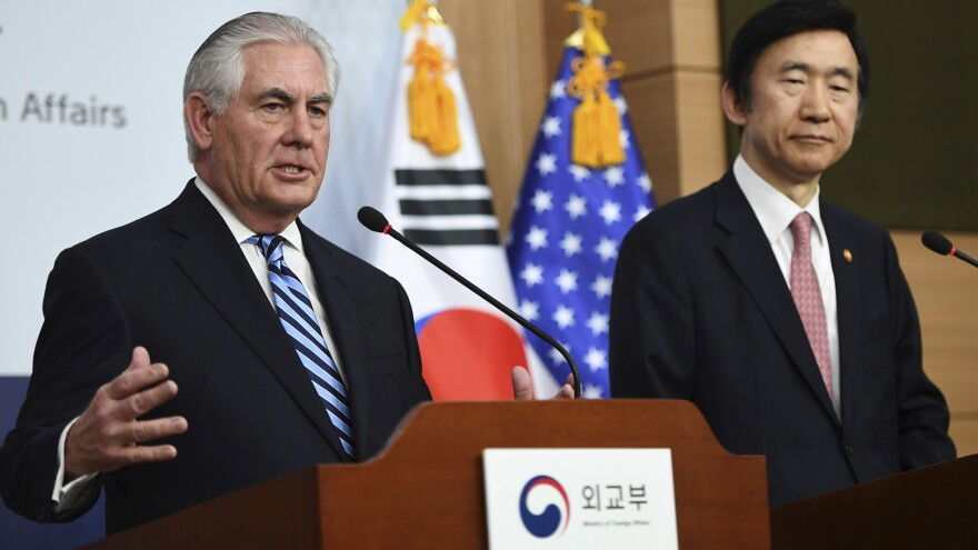 """""""The policy of strategic patience has ended,"""" Secretary of State Rex Tillerson (left) said Friday of dealing with North Korea. Tillerson is visiting South Korea; he's seen here alongside South Korean Foreign Minister Yun Byung-se in Seoul."""