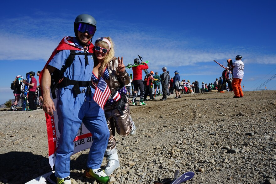 Photo of skiers in costume.