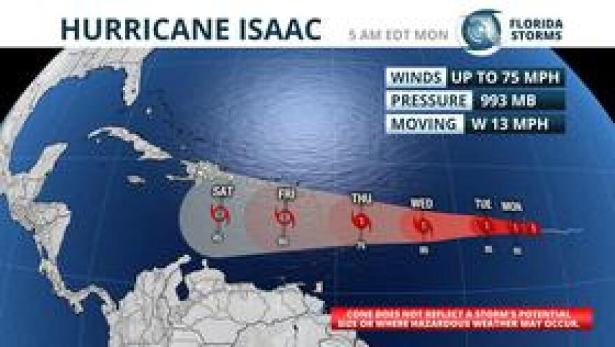 Official forecast advisory from the National Hurricane Center on Hurricane Isaac as of 11 am Monday.