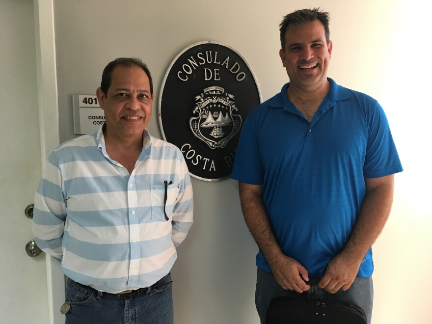 Norman Fitoria and Dimitri Largaespada at the Consulate General of Costa Rica in Miami on Wednesday