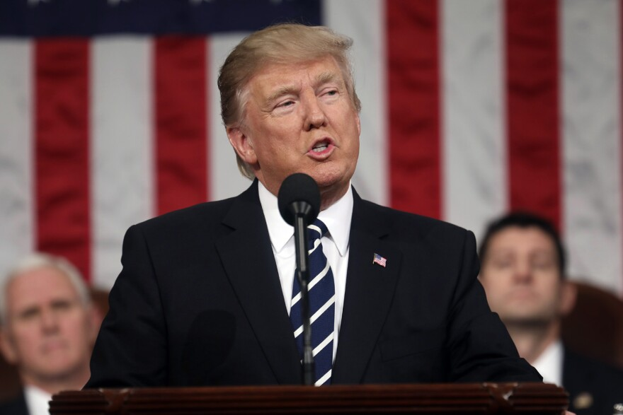 President Donald Trump addresses a joint session of Congress on Capitol Hill in Washington. (Jim Lo Scalzo/AP)