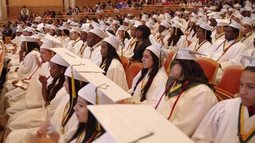 Miami Jackson Senior High students at their graduation in 2015. Florida's statewide graduation rate has steadily risen for more than 15 years.