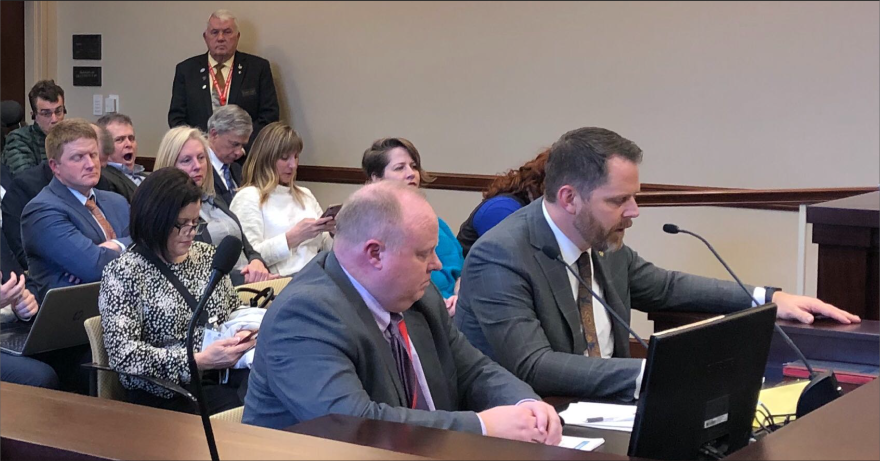 Photo of Jacob Anderegg presenting a bill to a Utah Senate committee