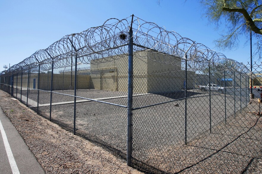 The grounds of the Maricopa County Estrella Jail in Phoenix, Ariz., on March 21, 2020. Some sheriffs want Arizona to follow the lead of other states and release low risk county jail inmates early — to prevent the spread of COVID-19.