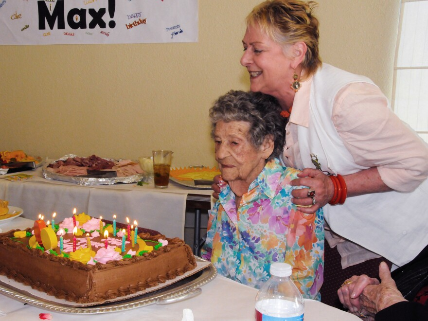 """Maxine Stanich celebrated her 90th birthday with friends and family in 2010, more than two years after her implanted defibrillator was deactivated by Dr. Rita Redberg to comply with Stanich's """"do not resuscitate"""" directive."""