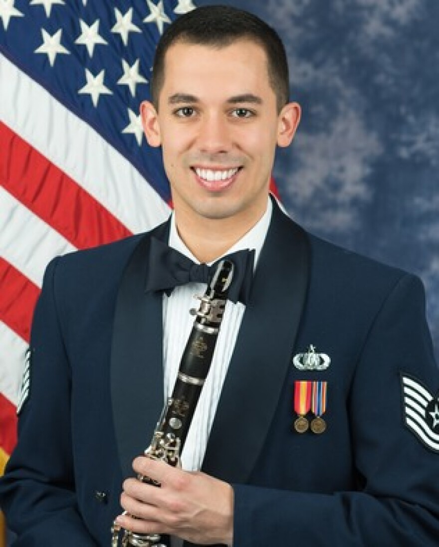 Technical Sergeant Joey Velez with his clarinet.