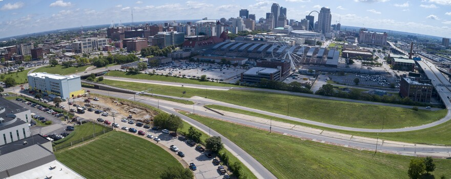 This composite photo shows land expected to be redeveloped for a MLS stadium in St. Louis.