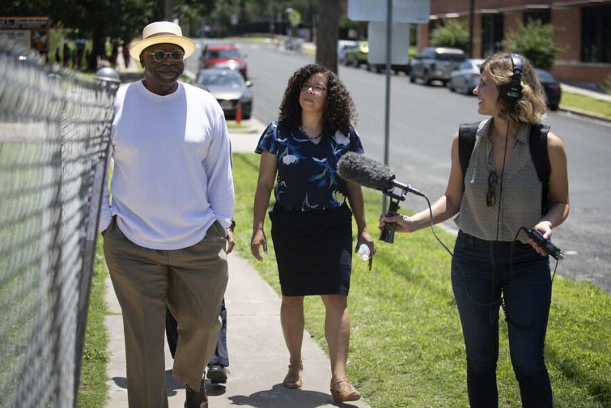 KUT's Claire McInerny interviews Huston Tillotson alum John Mays and UT PhD Candidate Gina Tillis.