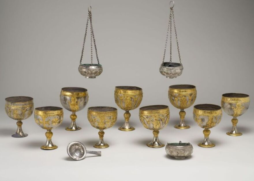 Silver chalices made in Syria in the sixth or seventh century. They are known as the Attarouthi Treasure, named after the prosperous Byzantine merchant town of Attarouthi.